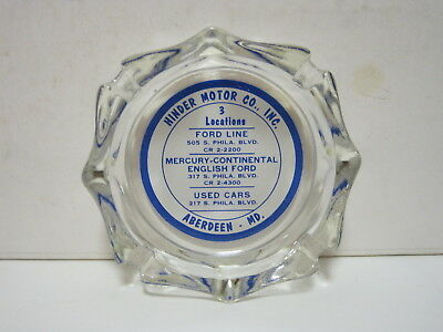 Hinder Motor Co.Ford, Mercury & English Models 1950s Glass Ashtray