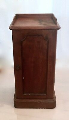 Antique Victorian Walnut Bed Side Table Cabinet Door with Shelves