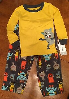 Carter's 2 Piece Fleece Pajama Set - Boys Toddler 2T - Monster - New With Tags!