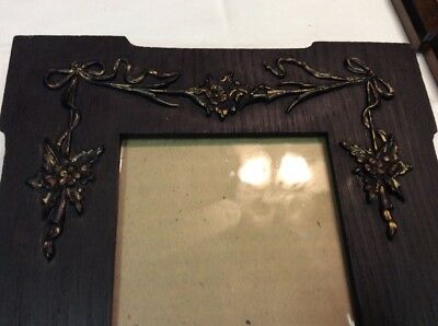 Antique Oak Arts Crafts Picture Frame French Bows Gold Gesso Wavy Glass Original