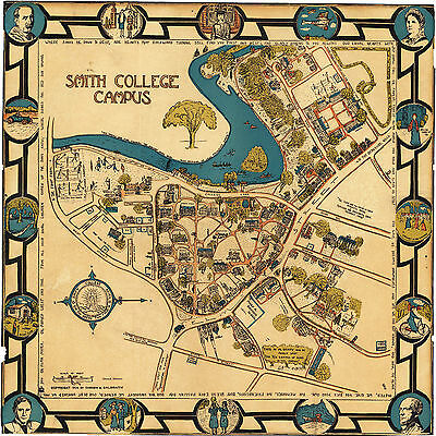 1928 Smith College Campus Map Wall Art Print Decor Vintage Massachusetts History