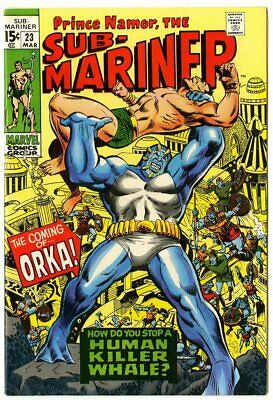 Sub-Mariner #23 VF/NM 9.0 white pages  1st app. Orka  Marvel 1970  No Reserve