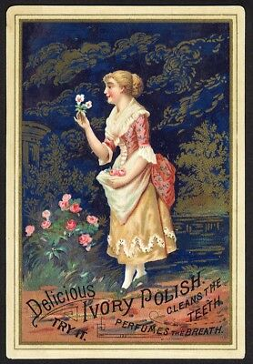IVORY POLISH 1880 era TRADE CARD toothpaste Dr. McLANES LIVER PILL Woman FLOWERS