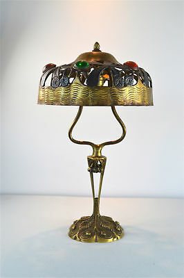 Original Art Nouveau Tiffany style table lamp with glass jewels circa.1900