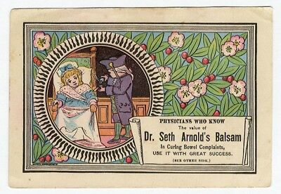 BOWEL MEDICINE 1880s trade card Dr. SETH ARNOLD Balsam QUACK Physician Comments