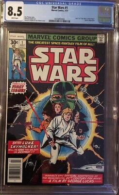 STAR WARS #1 Vintage Marvel Comics 1977 CGC 8.5 VF+ Very Fine White Pages