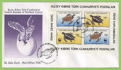 Cyprus (Turkish Posts) 1992 Sea Turtles miniature sheet on First Day Cover