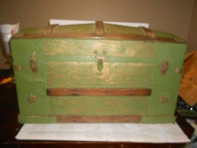 Antique Victorian Dome Top Steamer Trunk ~ Green Embossed Stage Coach Luggage