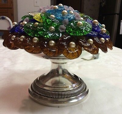 Vintage Antique Czech Glass Flower Depose Silver Lamp Basket Style Murano Beaded