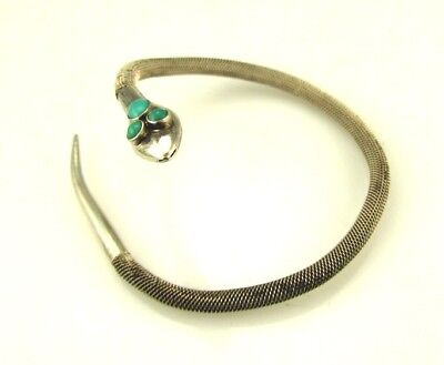 Antique Egyptian Revival Serpent Snake Silver Persian Turquoise Bracelet