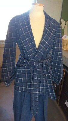 Vintage men's sleepwear 2 pc smoking jacket robe matching trousers blue plaid