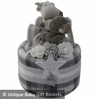 Nappy cake with 2 toys, keepsake and blanket baby gift basket/hamper baby shower