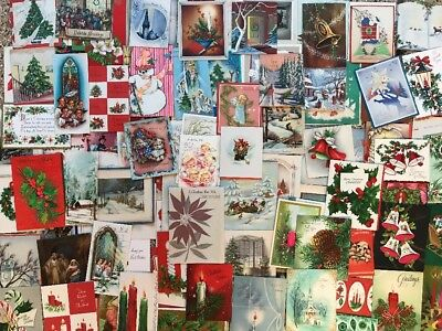 Lot 115+ Vintage Xmas Cards Deer Angels Snowman Bells Candles Kids Houses *A20*