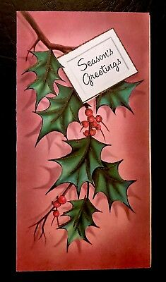 "Beautiful Mauve Shadows Holly Leaves & Berries ""Seasons Greetings"" Vintage Card"