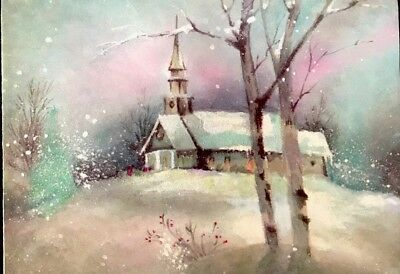 Vintage Xmas Card Snowy Glitter Night Iridescent Sky Church On Hill PARCHMENT