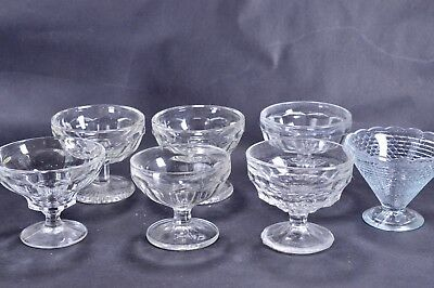 7 Job Lot Clearance Pressed Glass Dessert Ice Cream Dishes Bowls Wedding Sweets