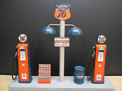 """"""" Union 76  """" Gas Pump Island Display W/gas Price Sign , 1:18, Hand Crafted, New"""