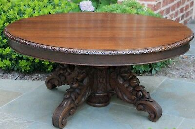 Antique French Oak BLACK FOREST Gothic HUNT Oval Coffee Table Dogs Pedestal