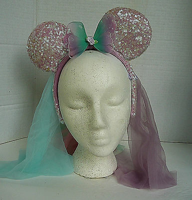 Authentic Minnie Mouse Headband Hat Pink Sequin Ears Sheer Hanging Veil I Size