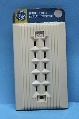 Vintage GE Ivory Bakelite Quintet 5 Wall Outlet & Plate - 15A - 2-Prong - Rare!