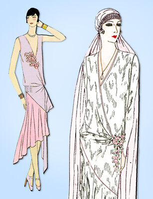 1920s Original Vintage Butterick Pattern 2166 Misses Flapper Wedding Dress 38 B