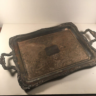 Vintage WM ROGERS Silver HANDLED SERVING TRAY Ornate 290