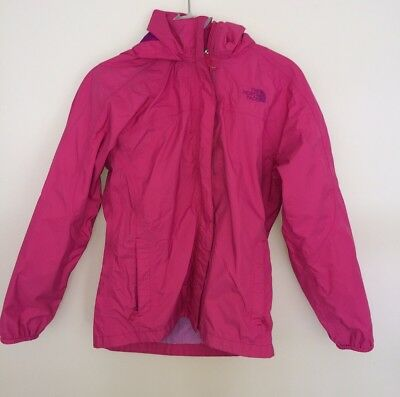North Face Girls Youth Pink Hyvent Rain Jacket Hoodie Sz Large 14 - 16