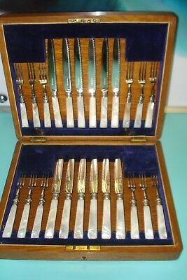 24pc MOP 1870 Mother Of Pearl Sterling Silver Plate knife Fork box set canteen