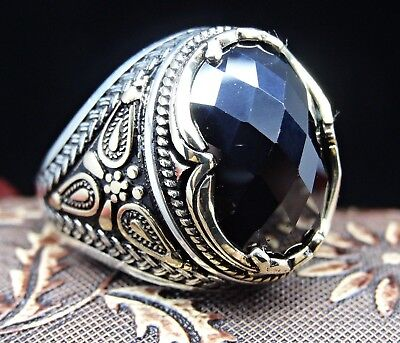 Turkish Jewelry 925 Sterling Silver Onyx Stone Mens Ring Sz 12 us FREE RESIZE