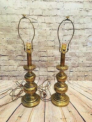 Pair of Vintage Stiffel Heavy Brass Trophy Table Lamps Hollywood Regency