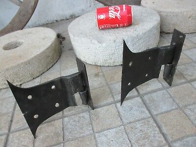 Architectural Salvage Antique Iron Door Large Pair Rustic Hinges Old Barne Gate