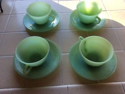 4  Vintage Fire-King Green Jadeite Jadite Jane Ray Tea Cups & 4Saucers