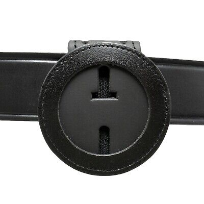 """Perfect Fit 2"""" Round Police Badge Holder Clip On Belt Neck Chain Leather Texas"""