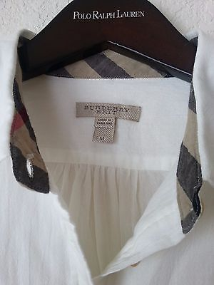 0f74163a168 NEW BURBERRY BRIT WOMEN'S CHECK COLLAR COTTON WHITE BLOUSE TUNIC SHIRT TOP  ...