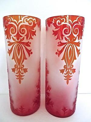 "Pair of Vintage 12""Tall & Handsome Unsigned Bohemian Cameo Glass Cylinder Vases"