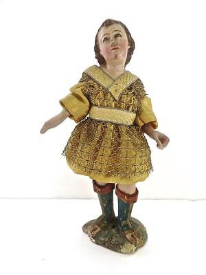 Italian 18c Neapolitan Carved Wood & Polychrome Figure of a Young Prince