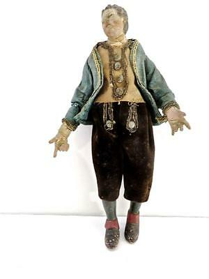 Italian 18c Neapolitan Carved Wood & Polychrome Figure of a Gentleman