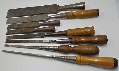 """Group Of Eight (8) Antique Socket Chisels - 1/8"""" Up To 1 1/2"""" - Various Makers"""