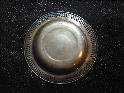 "VTG Silver VIKING PLATE Ornate Shallow Bowl 8.25x.75"" by E P COPPER"