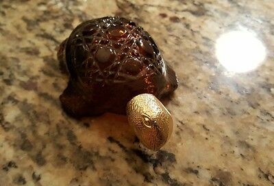 Vintage AVON Treasure Turtle Brown Glass w/Gold Head Cologne Bottle 1971-73