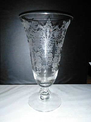 @ Beautiful Antique Crystal Stemware: Tiffin Cherokee Rose Goblet 6 1/2 In. Tall