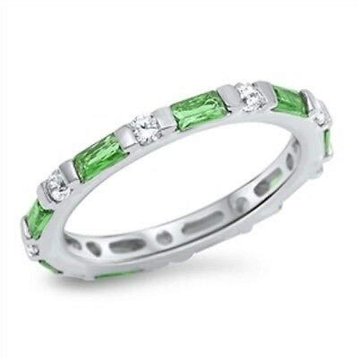 Sterling Silver Woman's Emerald CZ Eternity Ring Unique 925 Band Sizes 4-10 NEW