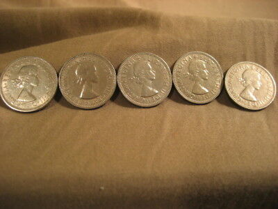 Lot Five British (5) One Shilling Coins Elizabeth 1953/56/57/61/62 EXC Free Shp