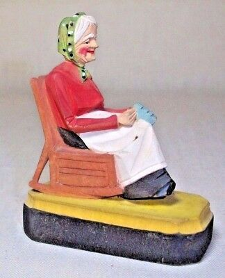Hand Carved Wood 3 1/4 Inch  'grandma Sewing In Rocking Chair' Folk Art
