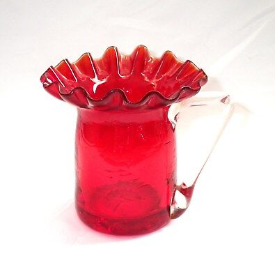 """Vintage Hand Blown 3"""" RED CRACKLE GLASS MINI PITCHER Clear Handle & Ruffled Rim"""