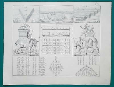 ROMAN ARMY Battle Formations Military Camp Elephant Troops - 1828 Antique Print