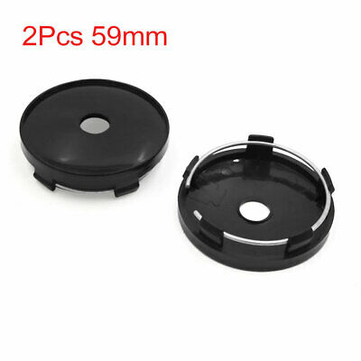 2Pcs 59mm Dia 5 Lugs Tire Wheel Center Hub Caps Cover Black for Auto Car Vehicle