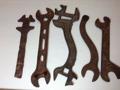 Vintage Rusty Tool Lot Wrenches Estate Find, Rusted Art, Curved Wrench