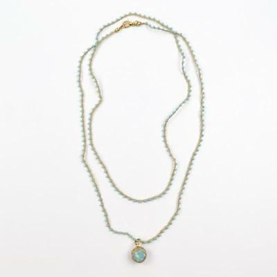 Catherine Popesco Beaded Cord Wrap Necklace Double Sided Crystal Ball Pendant