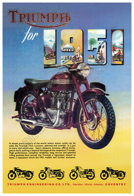 1951 Triumph Motorcycle - Vintage Advertising Poster